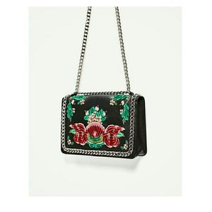 Embroidered Genuine Leather Crossbody